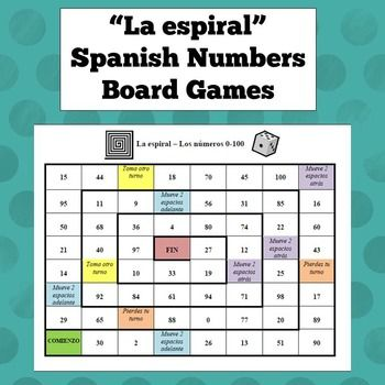 Three different board games for practicing Spanish numbers: 0-30, 0-100, and 100+. Contains a vocab sheet with useful phrases to help keep students speaking Spanish the entire time.