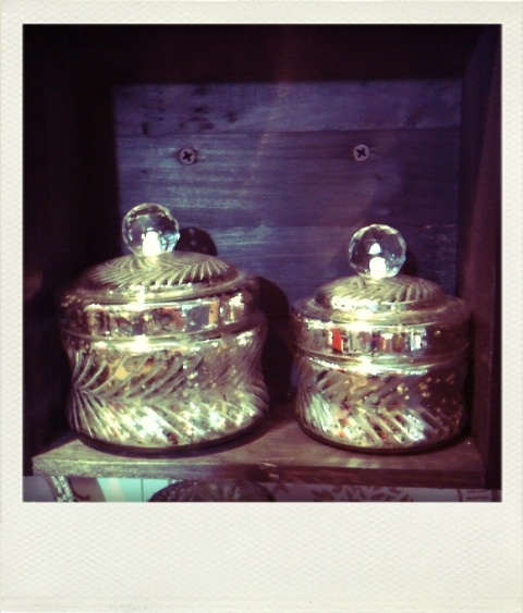 Safade Silver glass jars , cut detail.