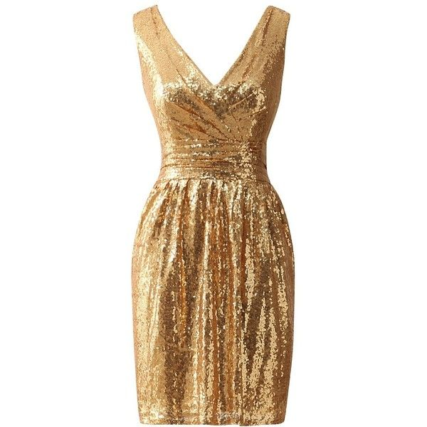 JAEDEN Simple Gold Bridesmaid Dresses Short Sequin Dress for Prom... ($40) ❤ liked on Polyvore featuring dresses, cocktail party dress, short cocktail dresses, gold prom dress, short bridesmaid dresses and homecoming dresses