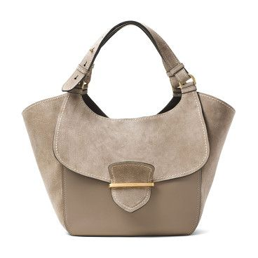 Josie large suede & leather shopper tote by Michael Kors Collection. Winged suede-and-leather tote with flap-front designDouble top handlesOpen topGoldtone hardwareOne inside open pocket...