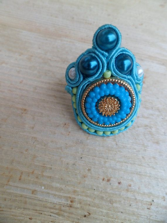 Handmade, soutache ring. Vegan friendly.