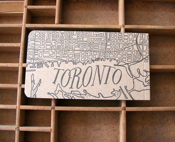 letterpress Toronto notepad by blackbirdletterpress on Etsy