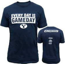 2012 Official BYU Football Game Day Cotton Navy T-Shirt, wearing it right now. :): Byu Football, Cotton Navy, Lds Pin, Cougar National,  Tees Shirts, Football Games, Football Rise, 2012 Official, Design
