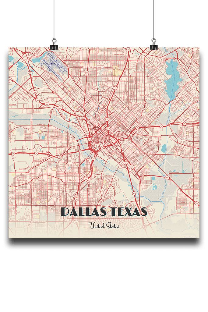 Premium Map Poster of Dallas Texas Diner Retro Unframed Dallas