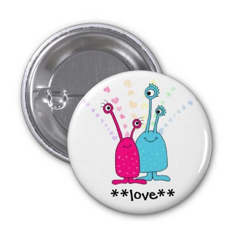 Aliens in Love Pinback Button