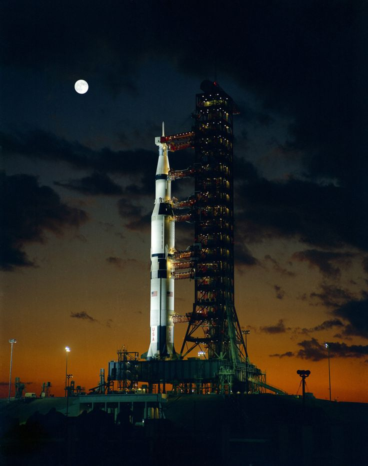 First Test Launch of a Saturn V Rocket - The giant Saturn V rocket for the Apollo 4 mission at the Kennedy Space Center's launch complex 39A stands at the dawn of November 8, 1967, during the pre-launch alert.