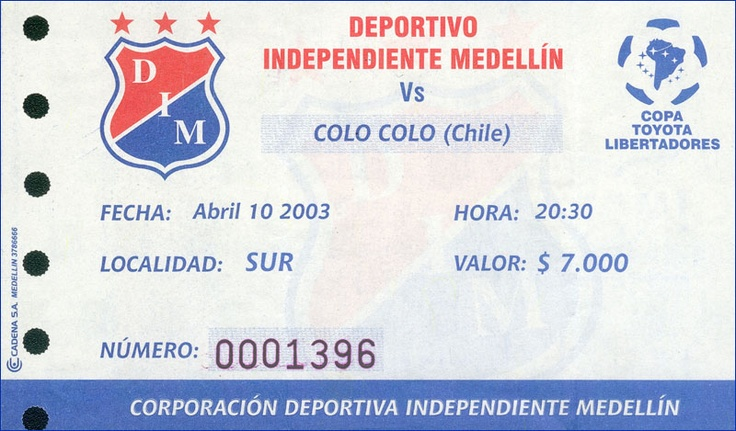 Deportivo Independiente Medellín vs colo colo (chile)... Abril 10/2003