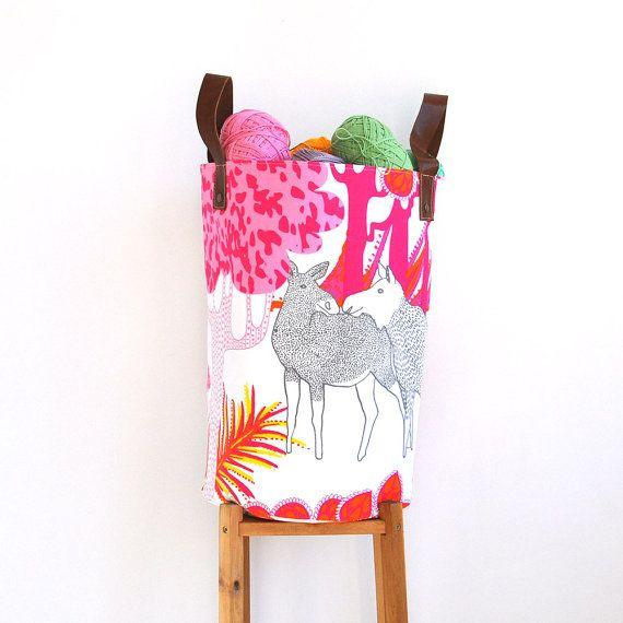 Large Laundry Hamper, Pink Fabric Basket, Toy Storage Basket, Nursery Laundry Hamper, Storage Bin, on Etsy, $68.00