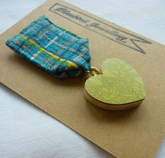 New medal style formica and fabric brooches in the shop, all $19 From Bluebird Jewellery.