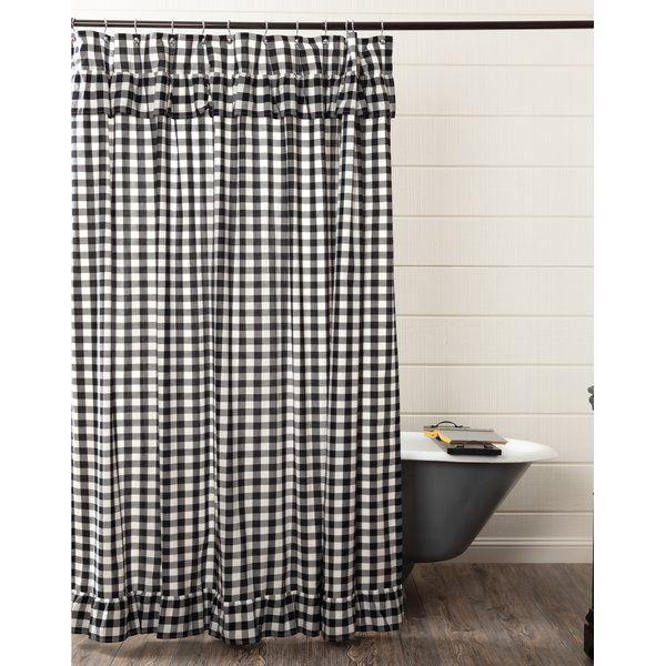Caulder 100 Cotton Plaid Single Shower Curtain Ruffle Shower