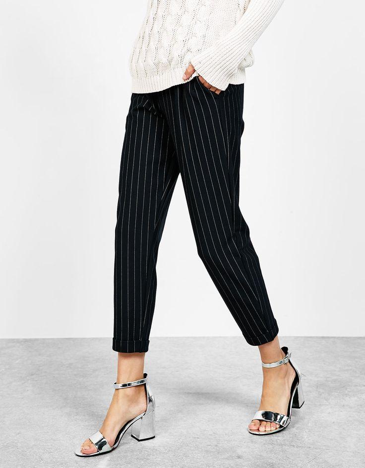 Pinstripe jogging trousers - Trousers - Bershka Mexico