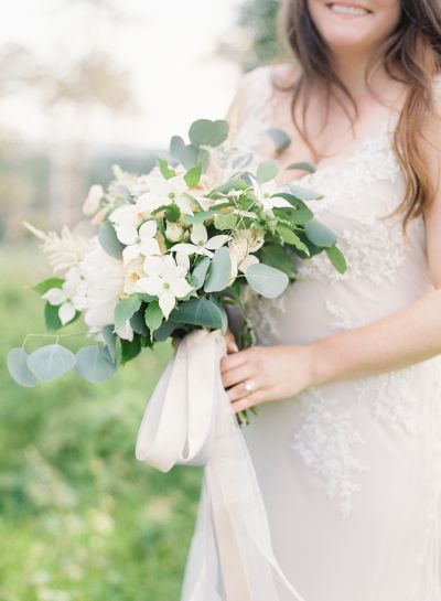 Bouvardia and eucalyptus wedding bouquet: http://www.stylemepretty.com/2016/09/23/smpwedding101-what-to-consider-when-choosing-where-to-get-ready-wedding/ Photography: O'Malley Photographers - http://omalleyphotographers.com/