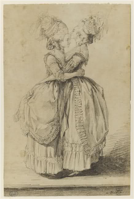 Madame Elisabeth and her sister-in-law Marie Antoinette, 18th C by Alexandre Moitte