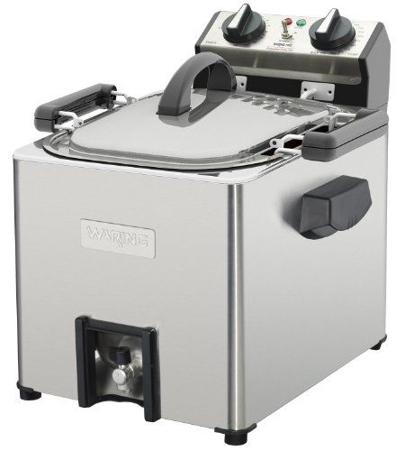Waring Pro TF200 Professional Rotisserie Turkey Fryer/Steamer Holds up to an 18 pound turkey; cooks at approximately 3-1/2 minutes per pound.. 1800-watt heating element; 120-minute timer. 2.5-gallon stainless steel reservoir. Aluminum frying/rotisserie basket; rotisserie function uses 1/3 less oil. Limited Five Year Motor Warranty.  #Waring #Kitchen
