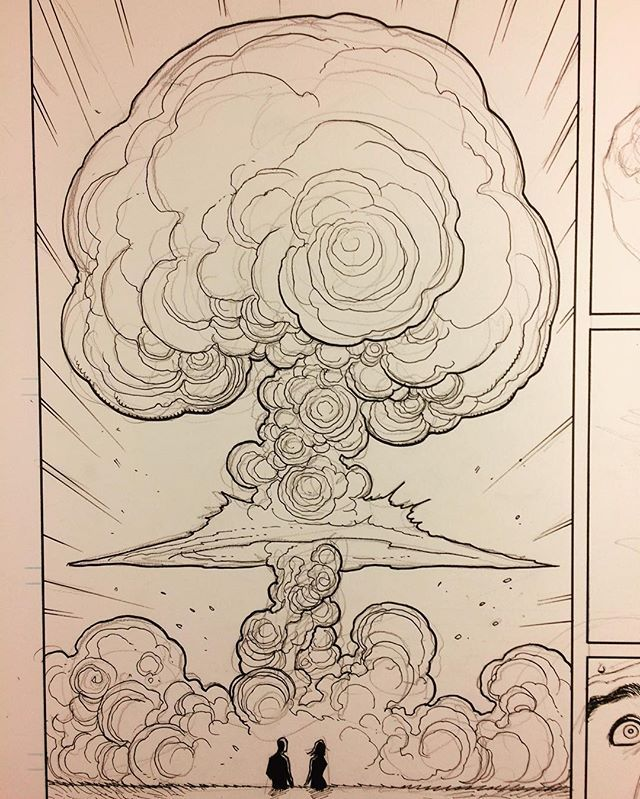 Skybourne, mushroom cloud. On my drawing board right now. Things get real in this issue. At this point I can draw mushroom clouds in my sleep. ;-) @frankchoartist #skybourne #boomstudios #boomcomics #mushroomcloud