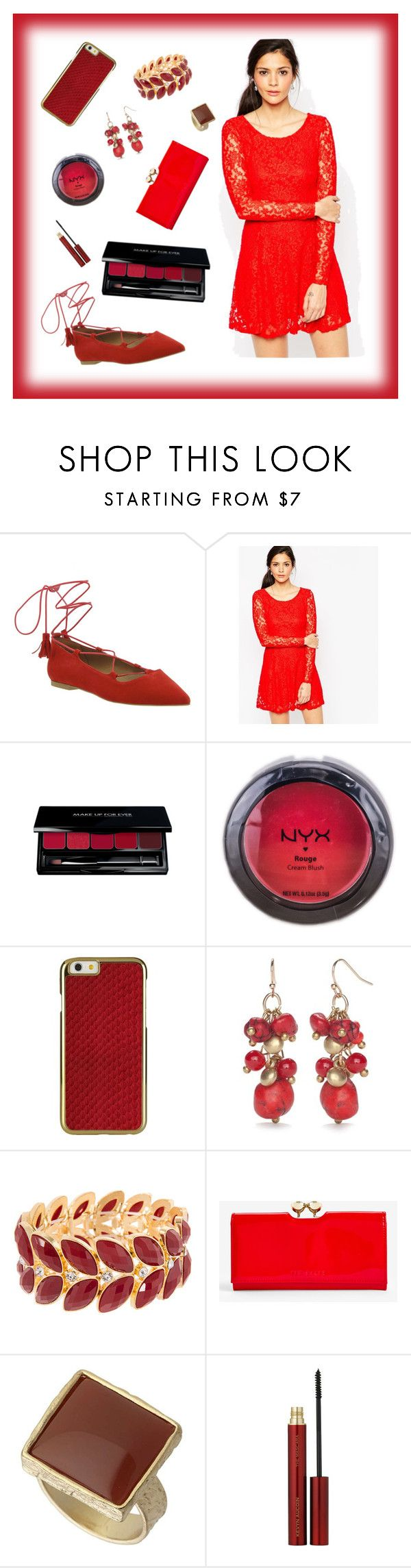 """redishhh"" by xxmichelleg ❤ liked on Polyvore featuring Office, WalG, NYX, New Directions, Ted Baker, Dorothy Perkins and Kevyn Aucoin"