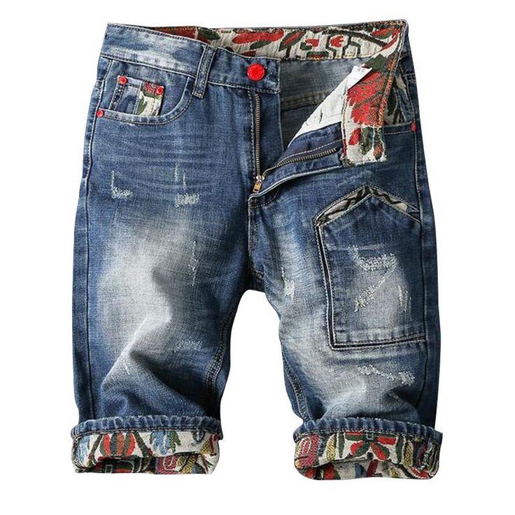 2016 Summer Men Distressed Jeans Shorts Super Size 28-46 Scratched Denim Shorts Men Fashion Casual Mens Ripped Short Jeans Q2102