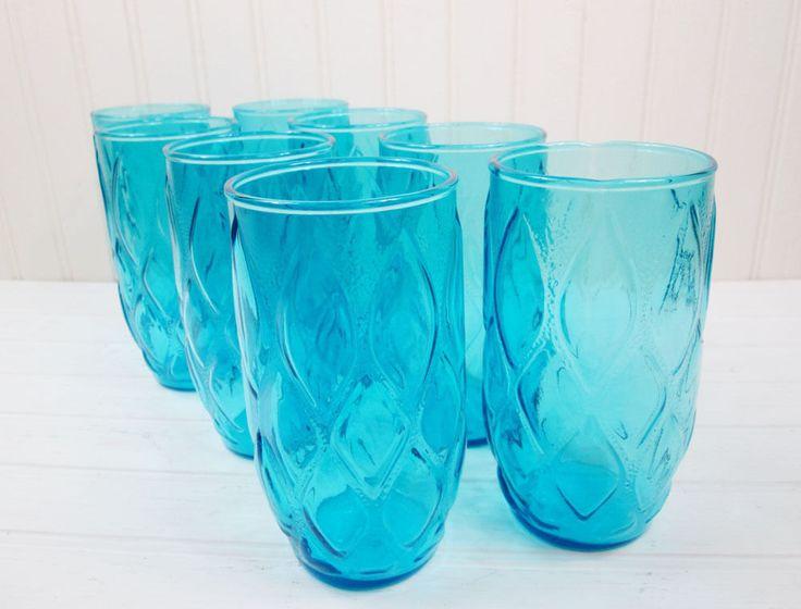 8 Vintage Aqua Blue Drinking Glasses Tumblers Set Anchor Hocking Madrid Atomic | eBay