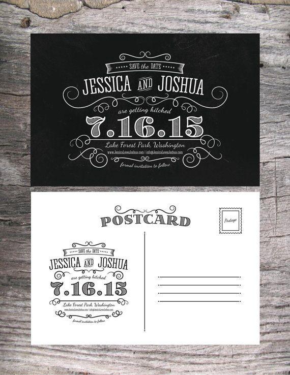 Chalkboard Save the Date Postcard Wedding Invitation Digital Printable