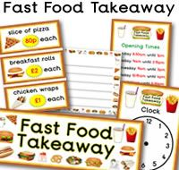 Lots of  great FREE Fast Food Takeaway role play resources. Resources like opening times, clock, signs, prices, basket signs, takeaway food themed borders and much more. For more of these resources please check out our site. These Fast Food Takeaway printables are all free to download, plus  we have 1000s more educational printables available to download. We hope you enjoy our role play  resources.