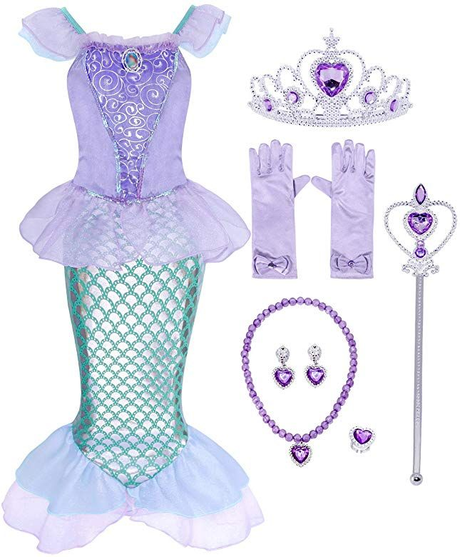 Jurebecia Princess Costume for Little Girls Halloween Dress up Toddler Birthday Party Fancy Dresses 2-12 Years