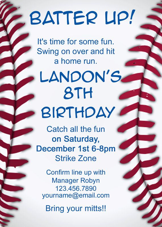Baseball Invitation -  I like the text on this one and borrowed some of the wording for my invites.