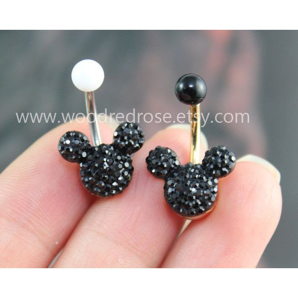Disney Mickey Mouse Black Crystal belly button ring,Stud Bar Barbell... ($4.99) ❤ liked on Polyvore featuring jewelry, mickey mouse jewelry, disney jewelry, disney, studded jewelry and kohl jewelry
