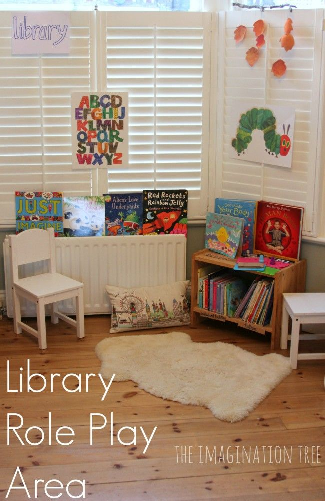Library Corner in your classroom or at home. Encourage early literacy skills every chance you get. Great blog post by the imagination tree! #emergentliteracy #reggioinspired #reggioemilia