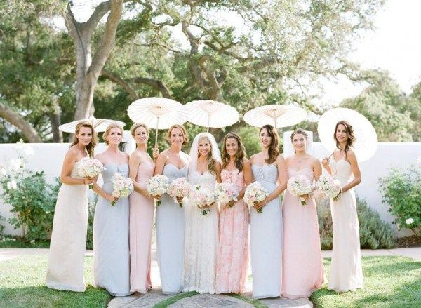 Pastel Bridesmaid Dresses in different colors