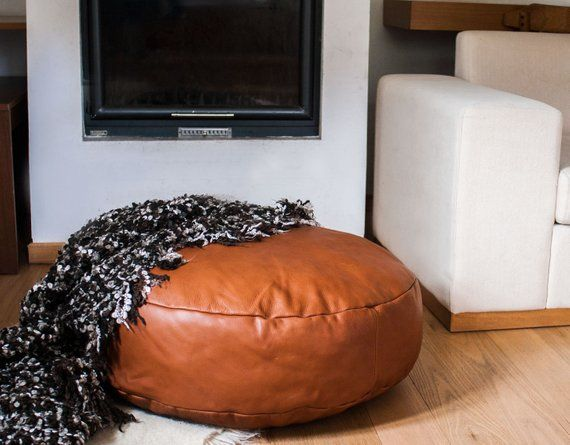 Large Leather Pouf In Cognac Leather Floor Pillow Floor