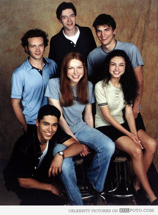 Danny Masterson, Topher Grace, Ashton Kutcher, Wilmer Valderrama, Laura Prepon, Mila Kunis - That '70s Show casting photo.