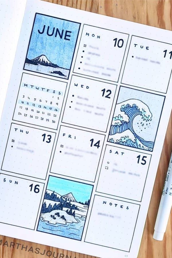 22 Super Fun Blue Bullet Journal Spreads für 2019