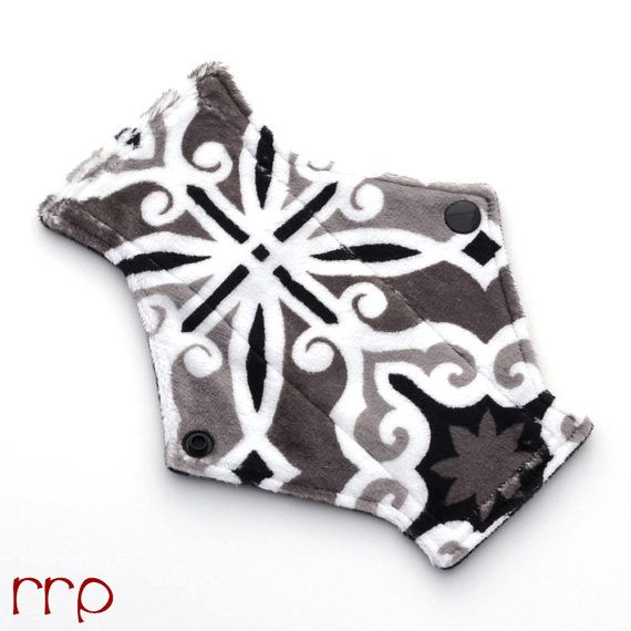 "7.5"" Pantyliner Capri in Pewter Minky backed in Premium WindPro Fleece, Cloth Pad, Menstrual Pad, Mama Cloth, Reusable Pad"