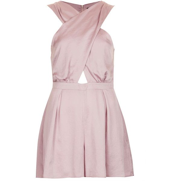 03f5d32f4e4b TOPSHOP Satin Cross Over Playsuit ( 12) ❤ liked on Polyvore featuring  jumpsuits