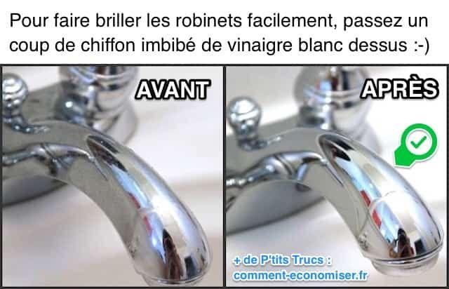 Il existe un truc simple et efficace pour faire briller les robinets chromés en un clin d'oeil. L'astuce est de passer un simple coup de chiffon imbibé de vinaigre blanc dessus. Regardez :-)  Découvrez l'astuce ici : http://www.comment-economiser.fr/truc-pour-faire-briller-robinets-chrome-facile.html?utm_content=buffer8d1a2&utm_medium=social&utm_source=pinterest.com&utm_campaign=buffer