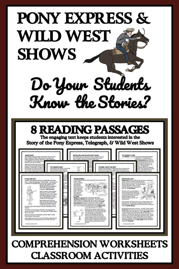 Pony Express Telegraph The Wild West Shows Bundle Reading Passages Activities Comprehension Activities [ 1104 x 736 Pixel ]
