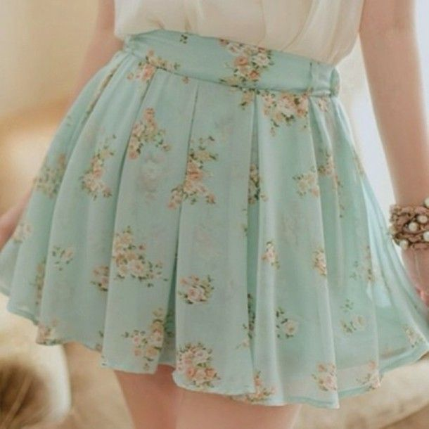skirt vintage pastel retro flowy cute pretty floral flowers green light white pink color/pattern nice outfit idea ideas print pattern blue girl flowers hot flower skirt blue summer