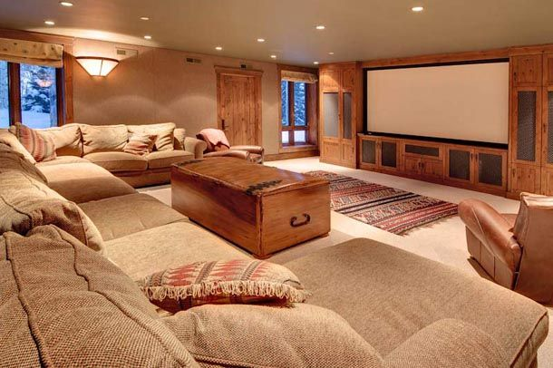 get rid of the coffee table and throw some big bean bag on the floor and this would be a the perfect movie room