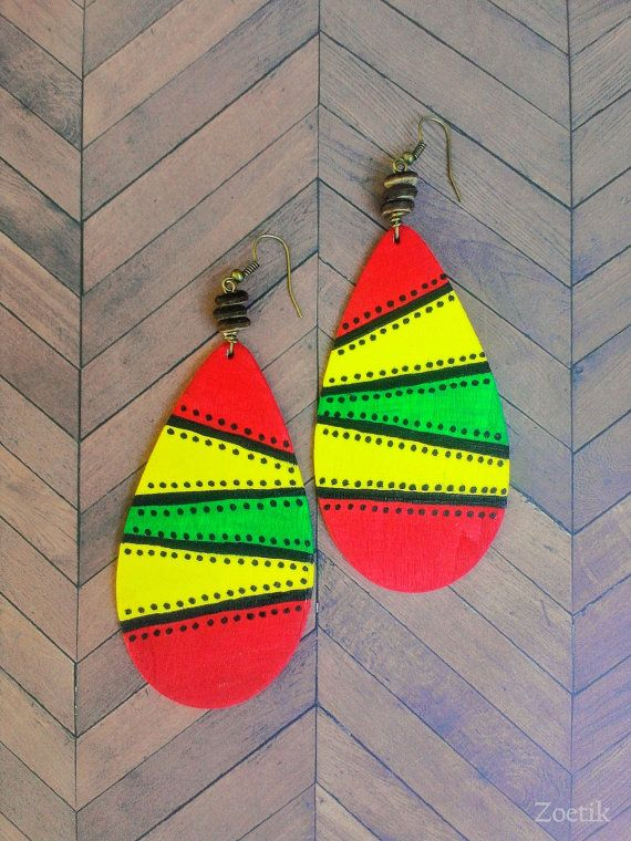 Conqueror  Hand painted wood earrings by Zoetik on Etsy, $15.00