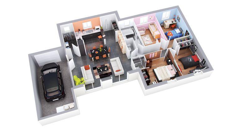 17 best images about maison de plain pied on pinterest double garage equation and gaia. Black Bedroom Furniture Sets. Home Design Ideas