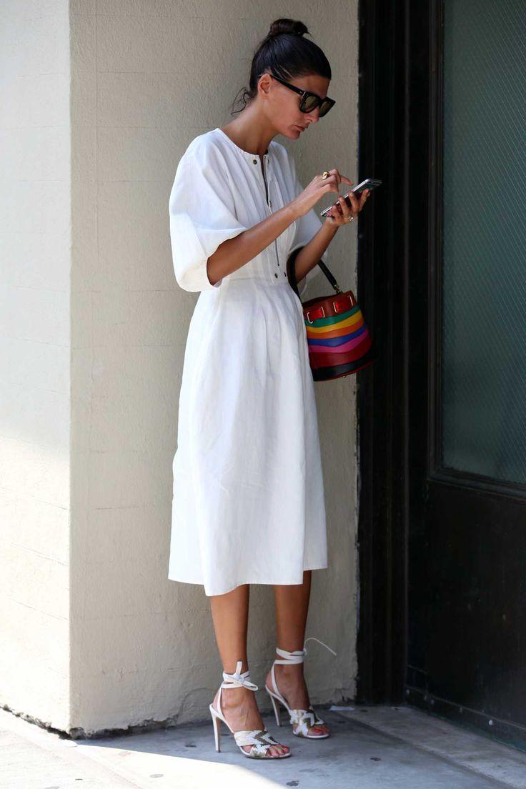 Giovanna Battaglia on the street at New York Fashion Week. Photo: Angela Datre/Fashionista.