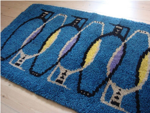 vessels (or penguins!) blue rya rug
