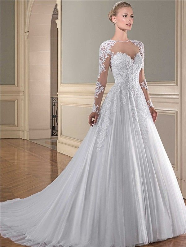 Ball Gown Illusion Neckline Sheer Long Sleeve See Through Tulle Lace Wedding Dress Bridalgown Seethrough Wedding Dresses Gorgeous Wedding Dress Bridal Dresses