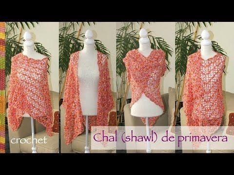 Chal (Shawl) o tapado de primavera tejido a crochet