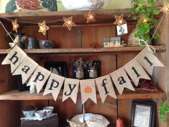 $24 Happy Fall Burlap Bunting Fall Bunting Autumn by ThirtySixDesign