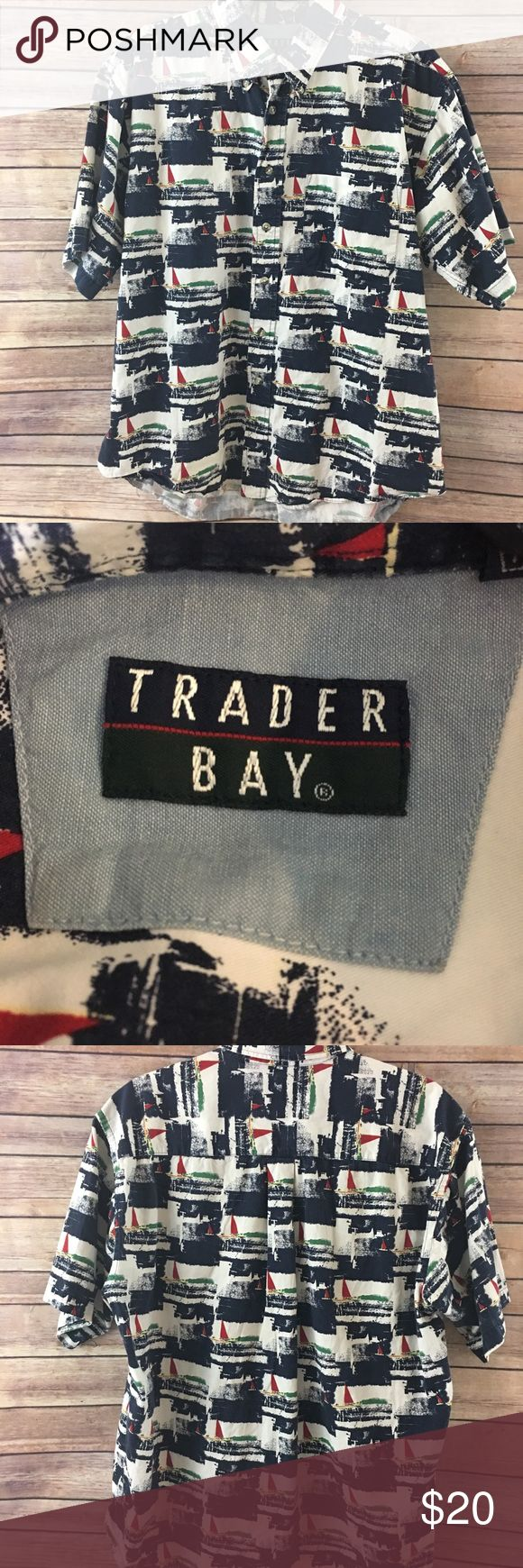 """Trader Bay men's Sailboat button down- Large Excellent condition! Sailboat print Navy, white, red, green   Chest 23"""" Length 28"""" Trader Bay Shirts Casual Button Down Shirts"""
