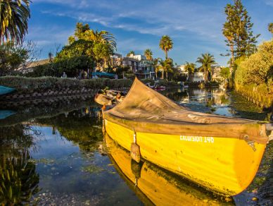 The Venice Canals are man-made canals in Venice Beach that recreate the appearance of Venice, Italy.