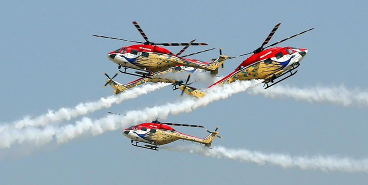 India's Sarang display team flying modified HAL Dhruv helicopters [1023x515]