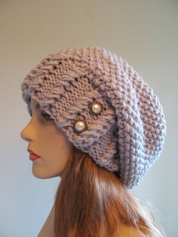 READY TO SHIP Oversized Slouchy Beanie Slouch Hats Baggy Beret Pearl Buttons womens spring accessory Blue Grey Super Chunky Hand Made Knit on Etsy, $52.66 CAD