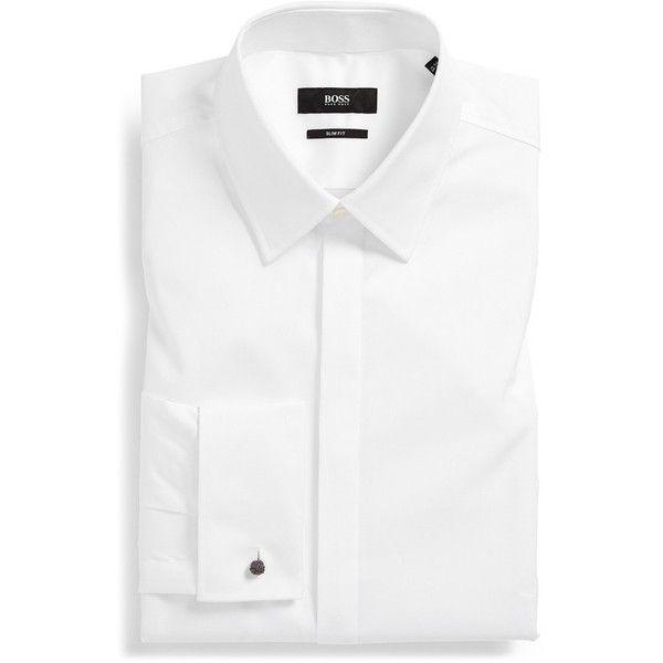 HUGO 'Ilias' Slim Fit French Cuff Tuxedo Shirt (17190 RSD) ❤ liked on Polyvore featuring men's fashion, men's clothing, men's shirts, men's dress shirts, white, mens slim shirts, mens white tuxedo shirt, mens tux shirt, mens slim fit dress shirts and mens white shirts